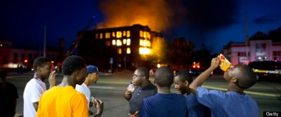 Two abandoned apartment buildings burn on Waverly(no E) Street in the declining Detroit neighbourhoo